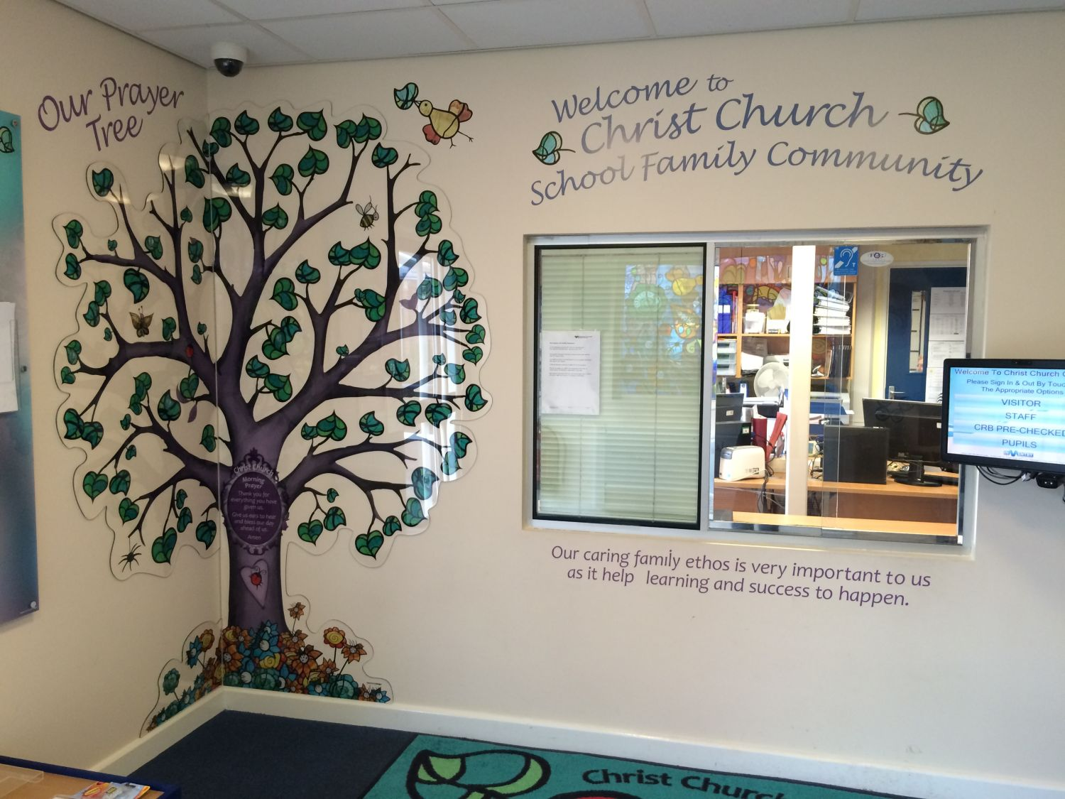 School Entrance Foyer And Acrylic Prayer Tree Display Two Thirds