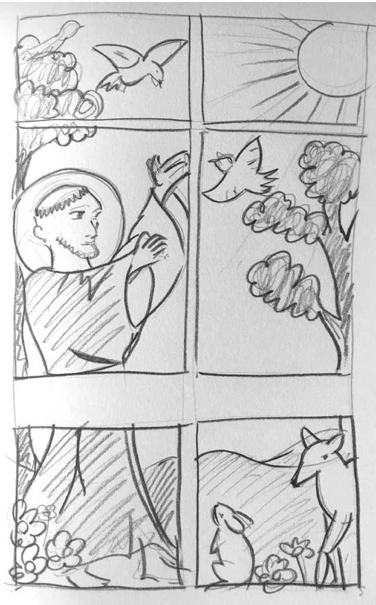St Francis Window Design Sketch