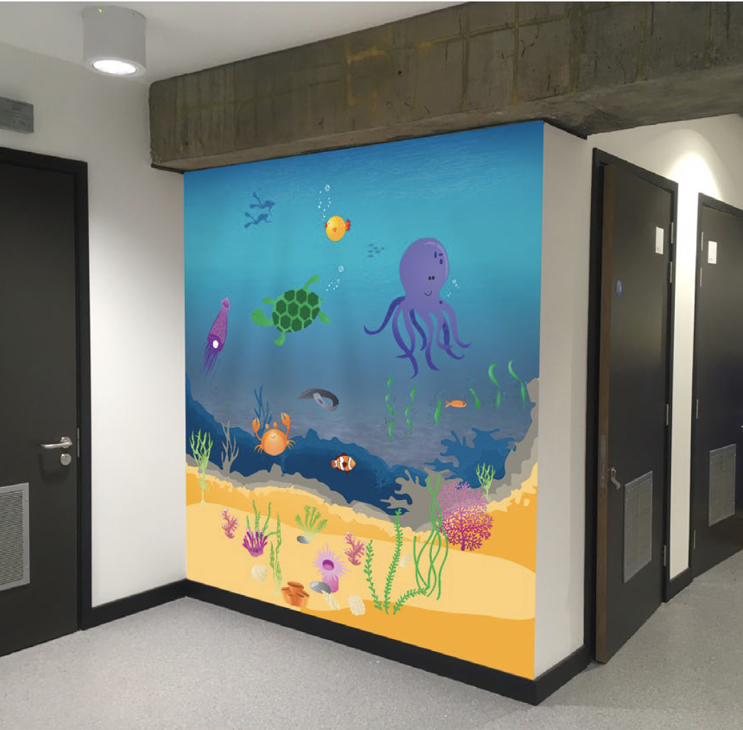 Under the sea wall covering vinyl