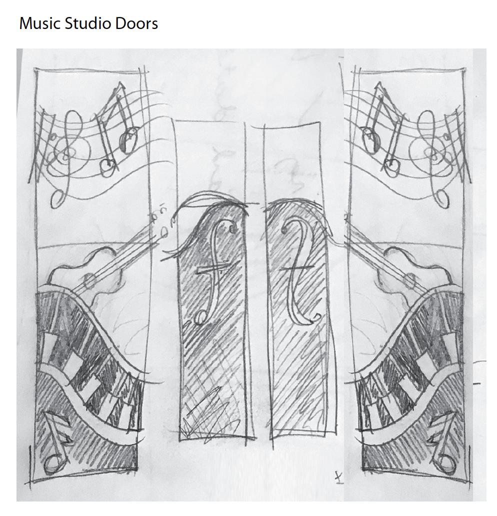 Music Display sketch vinyl frosting