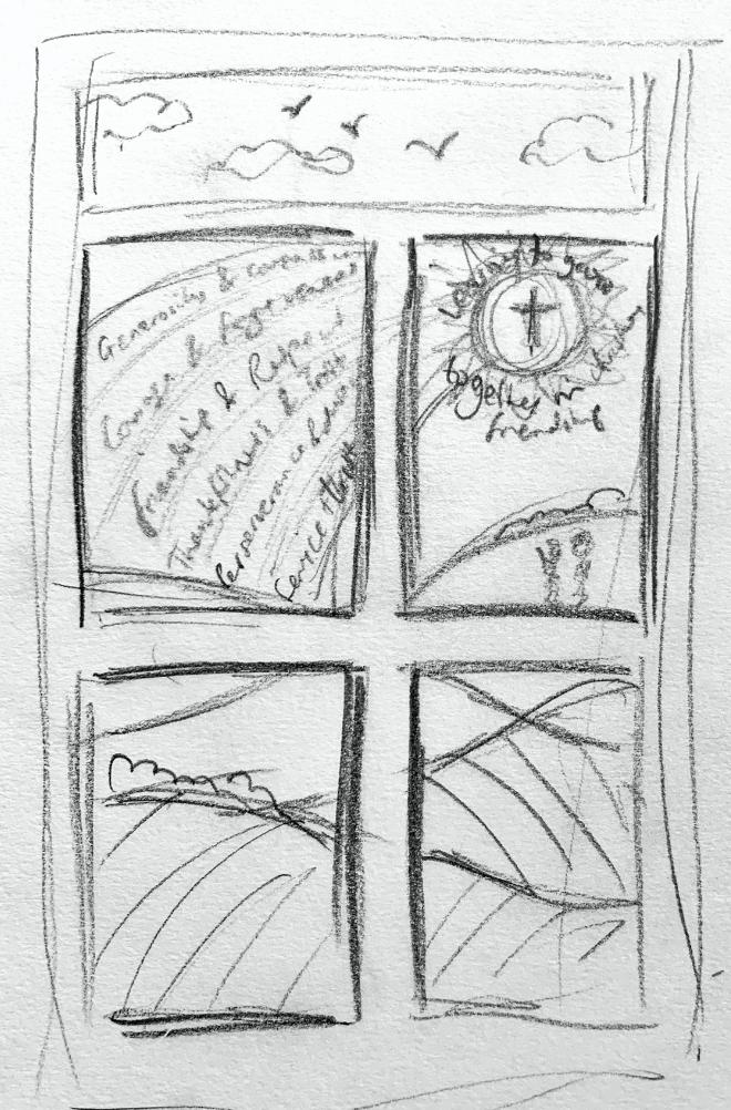 Faith values window display concept sketch vinyl