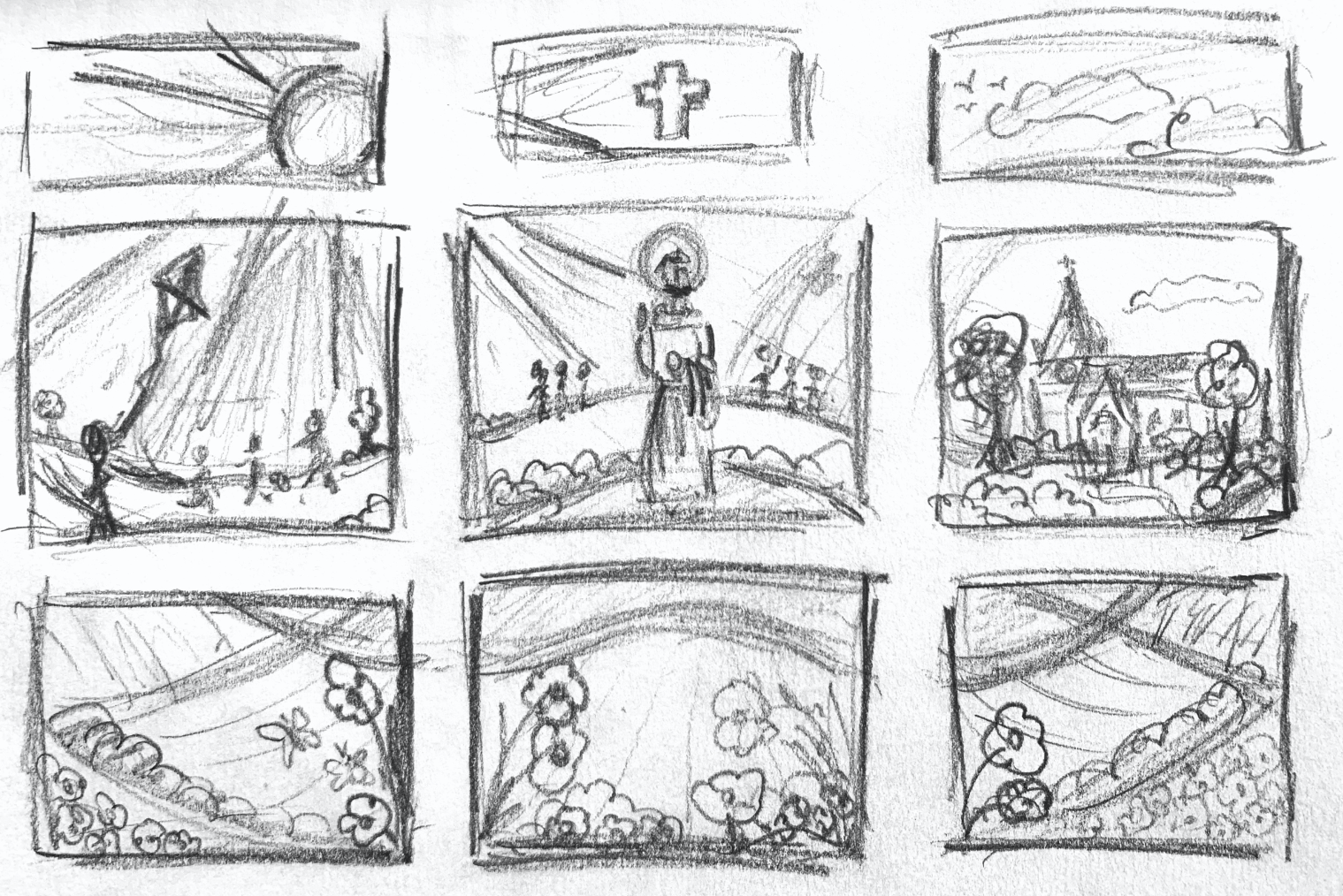 Faith window display concept sketch vinyl